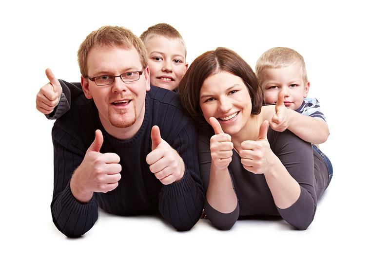 family of good dental patients